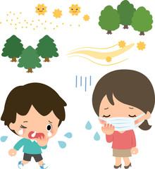 花粉症の患者と花粉を飛ばす木