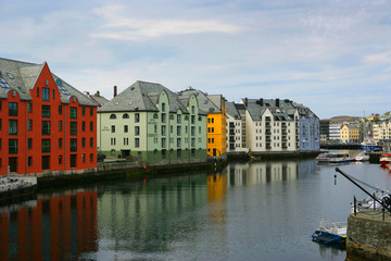 Norway, Alesund, Houses next to canal