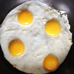 London, UK, Four Eggs Frying In A Pan