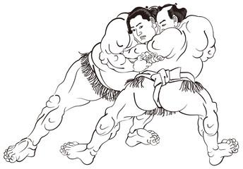 歌川国貞 相撲絵のイメージイラスト