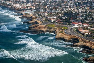 Use, California, San Diego, Aerial view of coastline
