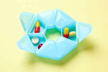 Elevated view of plastic pill box
