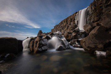 Iceland, Azingvellir National Park, Rock formation with waterfall shot with long exposure