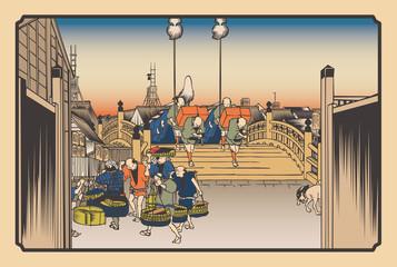 歌川広重 東海道五拾三次 日本橋 朝之景イメージイラスト