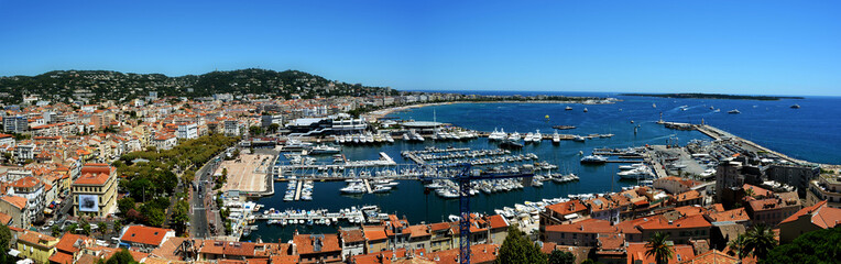 France, Cannes, Panoramic view of harbor