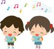 歌う男の子と女の子