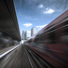 UK, England, London, Canary Wharf, View from going train