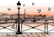 Sunset on Seine river from Pont des arts in Paris - 77436218