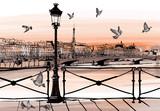 Sunset on Seine river from Pont des arts in Paris - 77436218