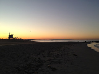 USA, California, Los Angeles County, Santa Monica, View of sunset on beach