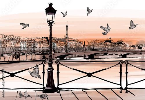 Fototapeta Sunset on Seine river from Pont des arts in Paris