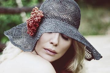 Portrait of woman in lace hat