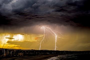 Australia, Gold Coast, Lightning over Kirra
