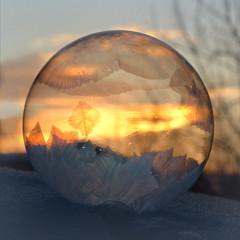 USA, Colorado, Frozen Bubble in Colorado Sunrise