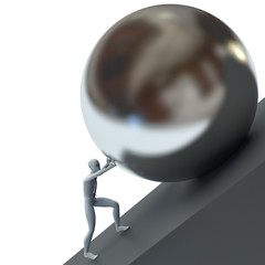 3d man pushing a metal ball