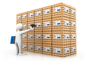 Man sealing the cargo boxes