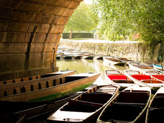 UK, England, Oxford, View of punting boats