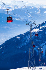 Switzerland, Leukerbad, Overhead cable cars
