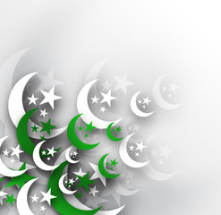 Moon with Pakistan's Flag for Independence Day