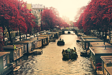 Holland, Amsterdam, Houseboats on canal