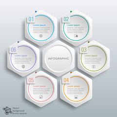 Infographics Vector Background 6-Step Process, Hexagon