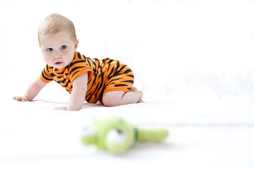 Portrait of cute baby boy (6-11 months) hunting for his puppet