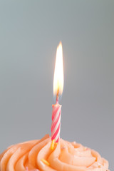 close up of cupcake with candle