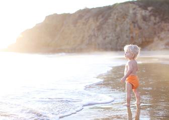 Toddler looking at sea