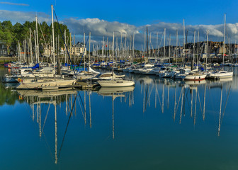 France, Normandie, View of marina with sailboats and yachts