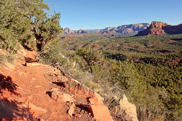 USA, Arizona, Sedona, View of valley and rock formations in sunlight