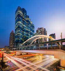 Thailand, Bangkok, Bang Rak District, View of Chong Nonsi BTS Station at night