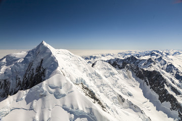 New Zealand, Southern Alps, View of snowcapped mountains