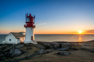 Norway, Vest-Agder, Lindesnes lighthouse at sunset