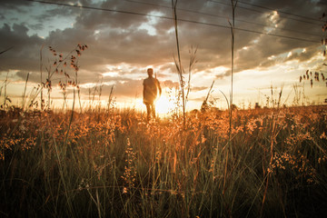Man In Field As Sunset