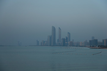 United Arab Emirates, Abu Dhabi, Skyline at dusk