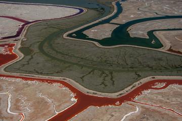 USA, California, Don Edwards Wildlife Refuge, Aerial view of Salt Pan