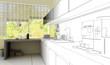 Küche in 3D (Zeichnung)