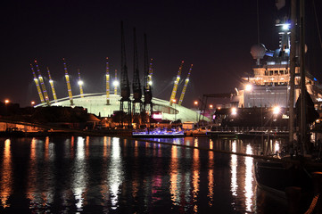 United Kingdom, England, London, View of South Dock with O2