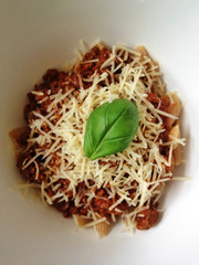UK, England, Hampshire, Brockenhurst, Pasta and meat sauce, with basil leaf