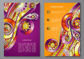 Set of Poster Templates with doddle pattern.