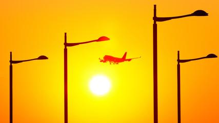 North Korea, Seoul, Airplane over sun