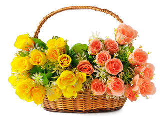 silk flowers in a basket