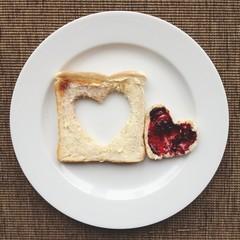 Heart in toast