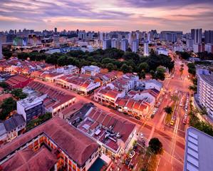 Singapore, City skyline at dusk