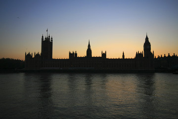 United Kingdom, England, London, Silhouette of Westminster Palace at night