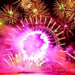 United Kingdom, London, London Eye fireworks