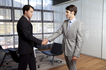 Cape Town, South Africa, Two businessmen shaking hands in the office