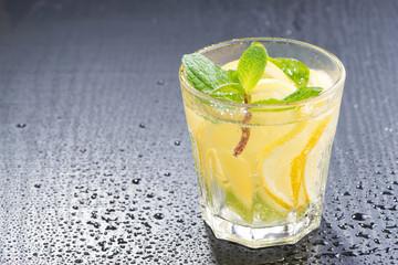 mint lemonade on a dark background