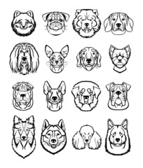 Vector dogs black icons set