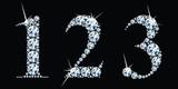 Liczby diamentów ustawione 1, 2, 3. Wektor Eps10